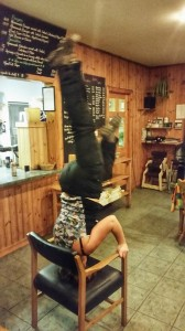 A night out in the tearoom.  Waterproofs, Crewroom vest, boots.  Headstands...